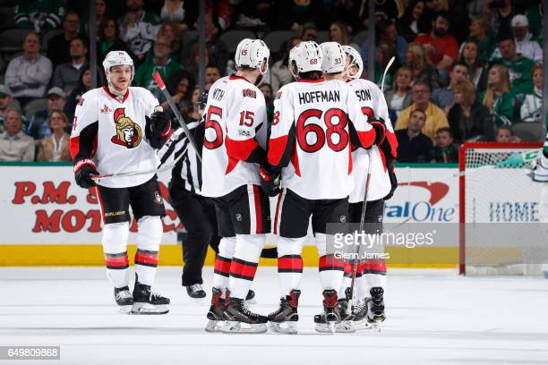 Mark Borowiecki Zack Smith Mike Hoffman and the Ottawa Senators celebrate a goal against the Dallas Stars at the American Airlines Center on March 8...