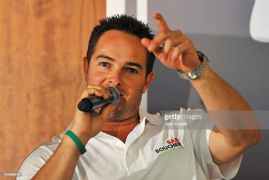 <a gi-track='captionPersonalityLinkClicked' href=/galleries/search?phrase=Mark+Boucher&family=editorial&specificpeople=212737 ng-click='$event.stopPropagation()'>Mark Boucher</a> speaks during the SAB Boucher Conservation Launch at SAB Brewhouse on October 30, 2012 in Johannesburg, South Africa.
