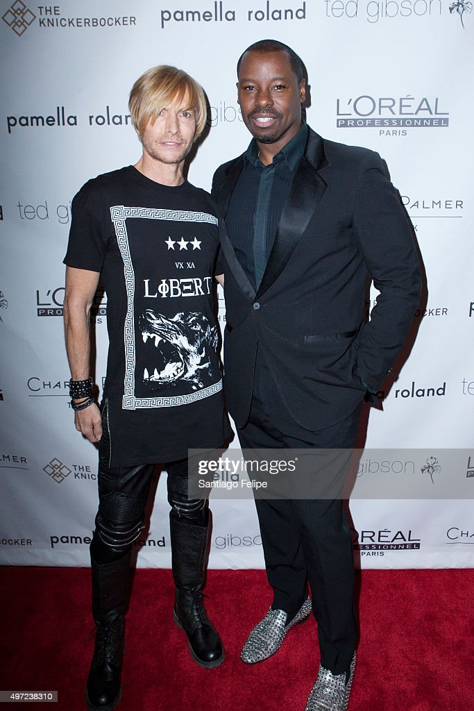 Mark Bouwer and Ted Gibson attend Ted Gibson's 50th Birthday Celebration at the Knickerbocker Hotel Rooftop on November 14 2015 in New York City