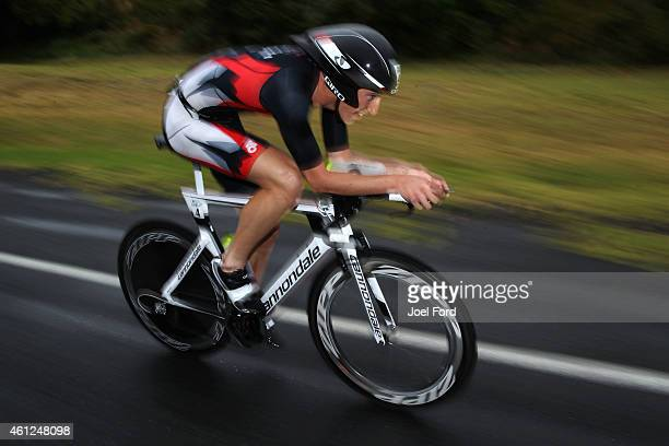 Mark Bowstead on the bike leg of the Port of Tauranga Half Ironman on January 10 2015 in Tauranga New Zealand