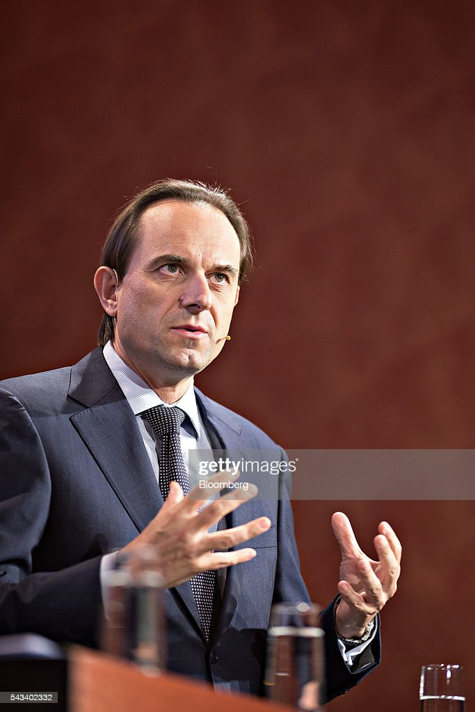Mark Branson, chief executive officer of the Swiss Financial Market Supervisory Authority (FINMA), gestures as he speaks during the Swiss International Finance Forum in Bern, Switzerland, on Tuesday, June 28, 2016. European stocks advanced, snapping their worst two-day losing streak since 2008, as investors speculated that policy makers may take action to shore up markets after the recent rout. Photographer: Michele Limina/Bloomberg via Getty Images
