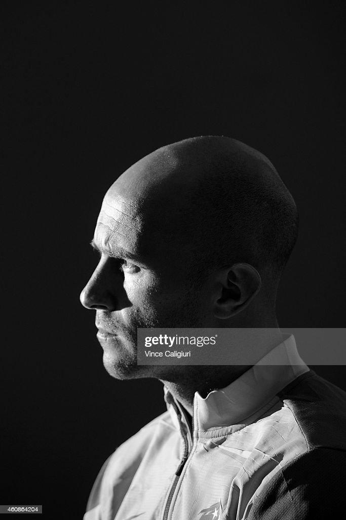Mark Bresciano is seen during a press conference before an Australian Socceroos Asian Cup training session at the Collingwood Training Ground on December 28, 2014 in Melbourne, Australia.