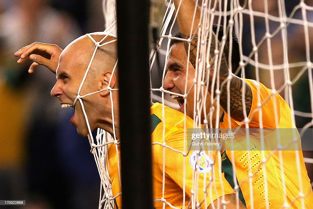 Mark Bresciano of Australia celebrates scoring a goal during the FIFA World Cup Qualifier match between the Australian Socceroos and Jordan at Etihad Stadium on June 11, 2013 in Melbourne, Australia.