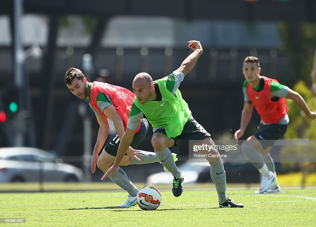 Mark Bresciano of Australia controls the ball during an Australian Socceroos training session at the Collingwood Training Ground on January 3, 2015 in Melbourne, Australia.