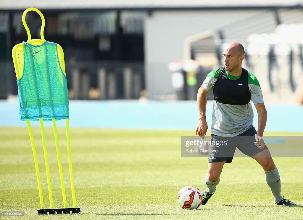 Mark Bresciano of Australia controls the ball during an Australian Socceroos training session at Lakeside Stadium on January 7, 2015 in Melbourne, Australia.