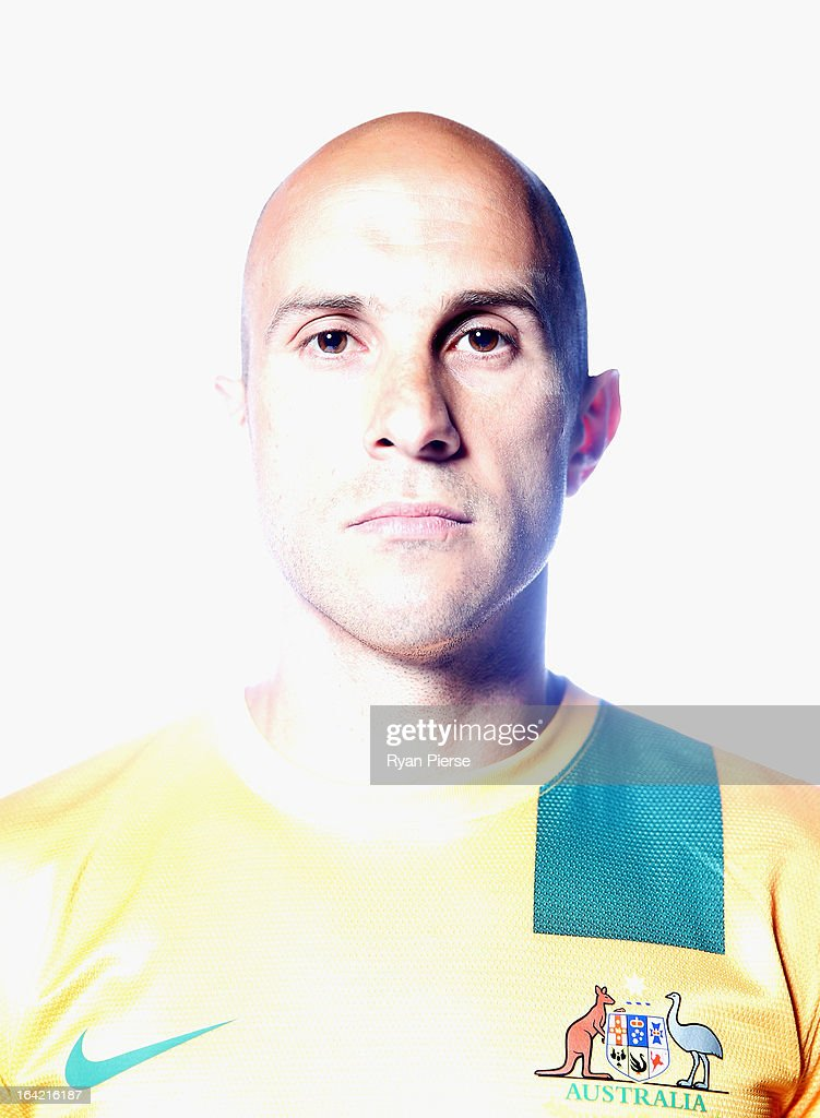 Mark Bresciano of Australia poses during a Socceroos Portrait Session on March 21, 2013 in Sydney, Australia.