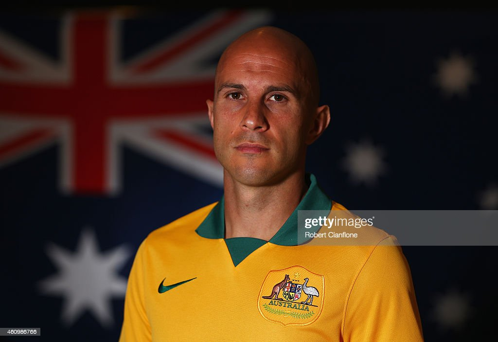 Mark Bresciano of Australia poses during an Australian Socceroos headshot session at the InterContinental Hotel, on January 3, 2015 in Melbourne, Australia.