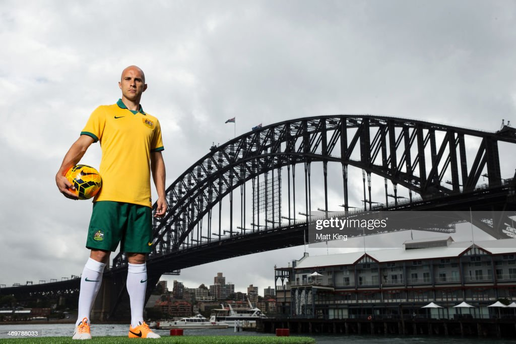 Mark Bresciano poses during the Australian Socceroos 2014 FIFA World Cup kit launch on February 17, 2014 in Sydney, Australia.