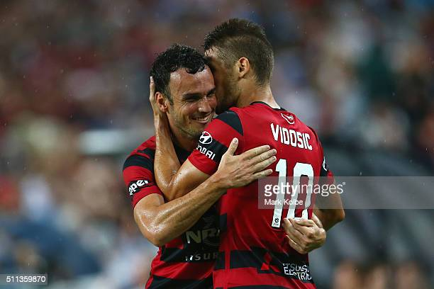 Mark Bridge and Dario Vidosic of the Wanderers celebrate combining for Dario Vidosic to score a goal during the round 20 ALeague match between Sydney...