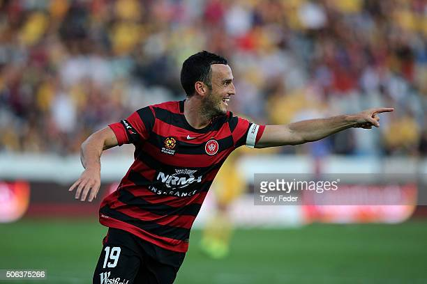 Mark Bridge of the Wanderers celebrates a goal during the round 16 ALeague match between the Central Coast Mariners and the Western Sydney Wanderers...