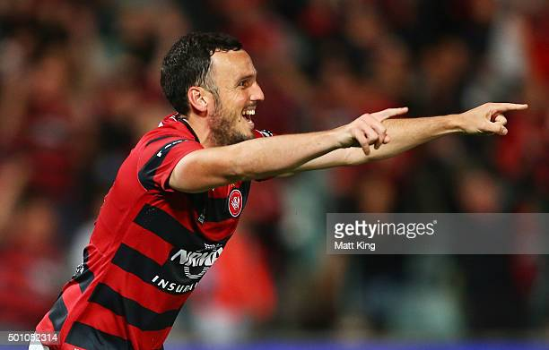 Mark Bridge of the Wanderers celebrates scoring the first goal during the round 10 ALeague match between the Western Sydney Wanderers and Melbourne...