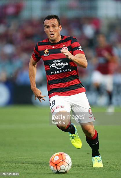 Mark Bridge of the Wanderers controls the ball during the round 17 ALeague match between the Western Sydney Wanderers and Melbourne City FC at Pirtek...