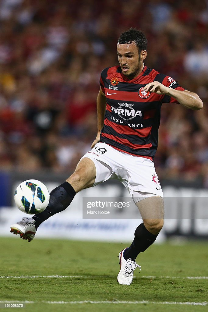 Mark Bridge of the Wanderers controls the ball during the round 20 A-League match between the Western Sydney Wanderers and the Newcastle Jets at Campbelltown Sports Stadium on February 9, 2013 in Sydney, Australia.
