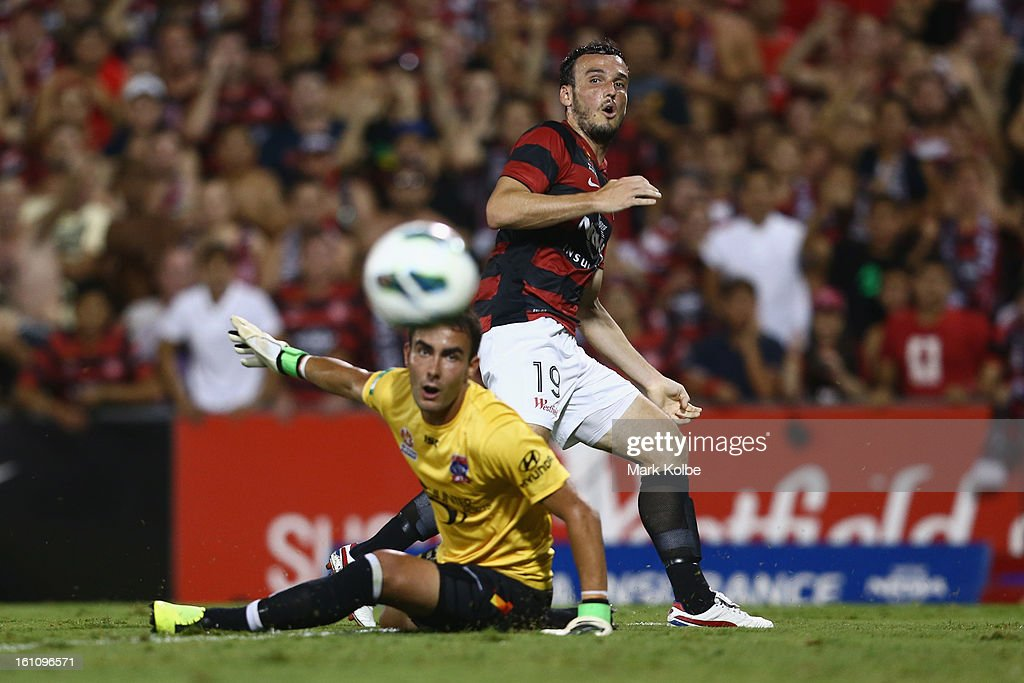 Mark Bridge of the Wanderers reacts after a missed shot at goal during the round 20 A-League match between the Western Sydney Wanderers and the Newcastle Jets at Campbelltown Sports Stadium on February 9, 2013 in Sydney, Australia.