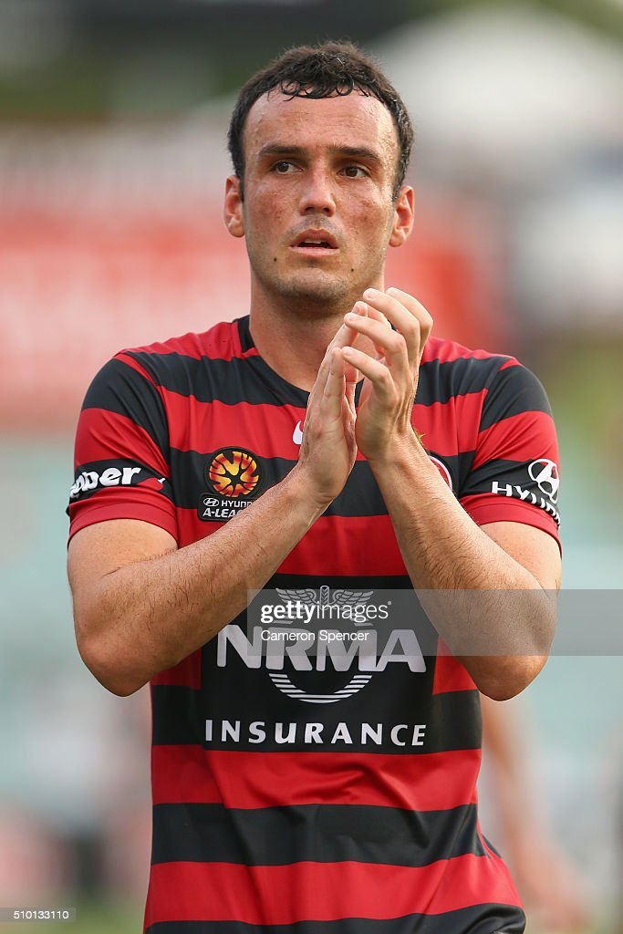 Mark Bridge of the Wanderers thanks fans following the round 19 A-League match between the Western Sydney Wanderers and the Wellington Phoenix at Pirtek Stadium on February 14, 2016 in Sydney, Australia.