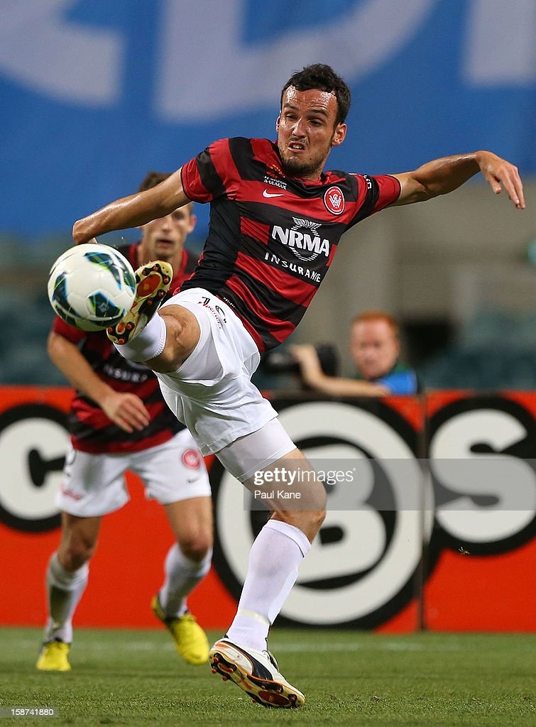 Mark Bridge of the Wanderers traps the ball during the round 13 A-League match between the Perth Glory and the Western Sydney Wanderers at Patersons Stadium on December 27, 2012 in Perth, Australia.