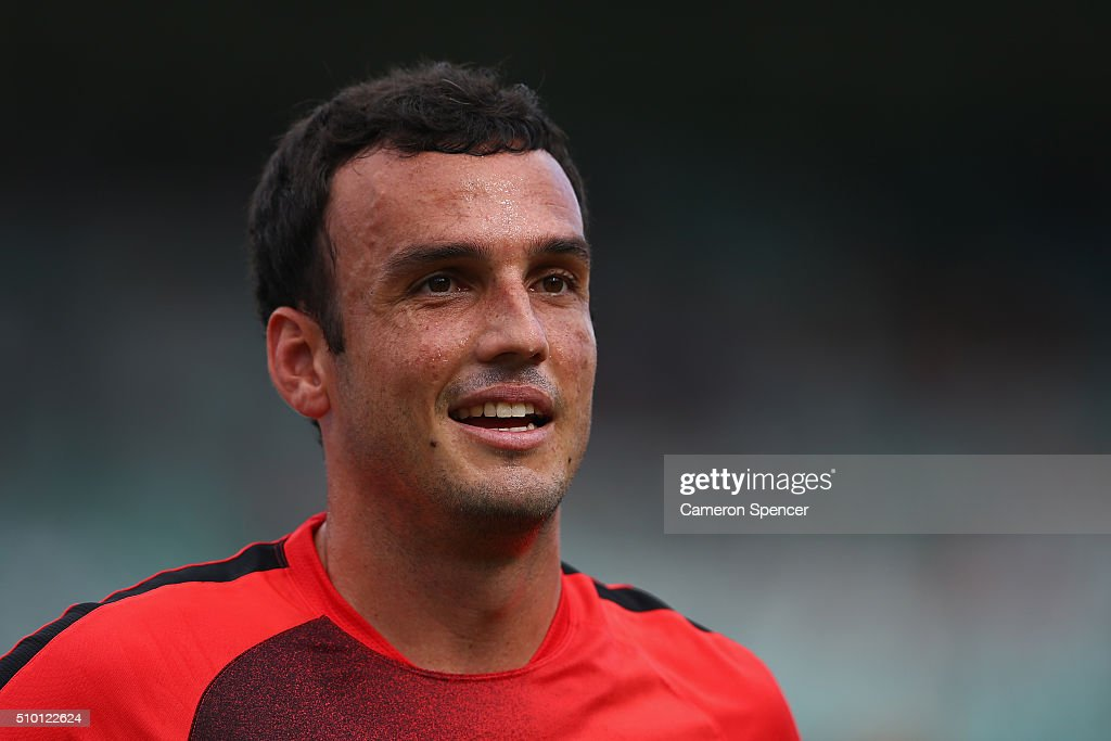 Mark Bridge of the Wanderers warms up during the round 19 A-League match between the Western Sydney Wanderers and the Wellington Phoenix at Pirtek Stadium on February 14, 2016 in Sydney, Australia.