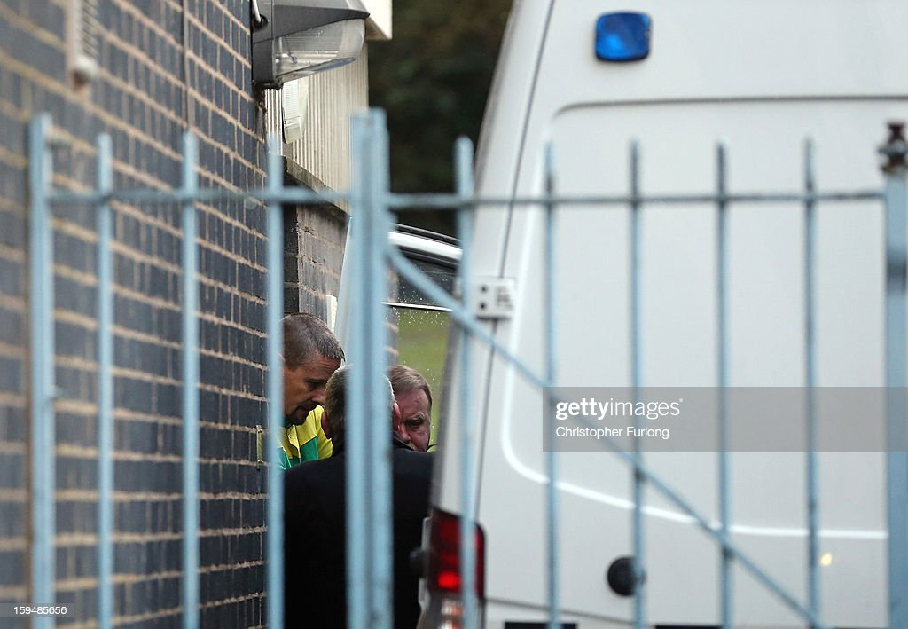 <a gi-track='captionPersonalityLinkClicked' href=/galleries/search?phrase=Mark+Bridger&family=editorial&specificpeople=9804094 ng-click='$event.stopPropagation()'>Mark Bridger</a> (L) leaves Mold Crown Court after pleading not guilty to the murder of April Jones on January 14, 2013 in Mold, Wales. <a gi-track='captionPersonalityLinkClicked' href=/galleries/search?phrase=Mark+Bridger&family=editorial&specificpeople=9804094 ng-click='$event.stopPropagation()'>Mark Bridger</a>, 47, denied three charges which include the murder, abduction and attempting to pervert the course of justice following the disappearance of five-year-old April Jones in Machynlleth, Powys, on October 1, 2012.