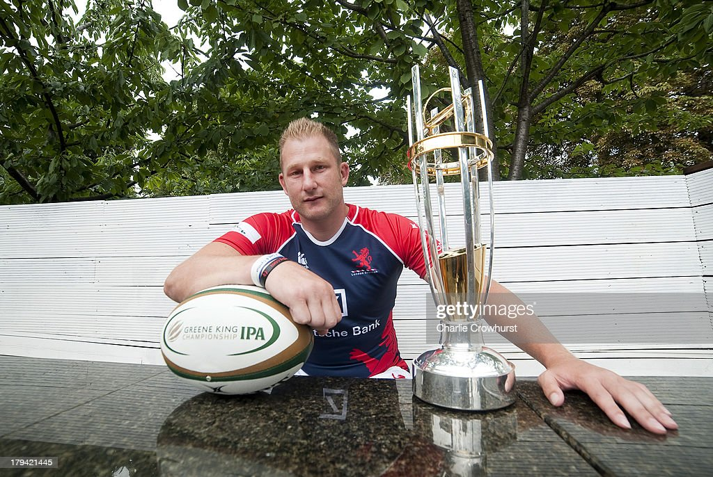 <a gi-track='captionPersonalityLinkClicked' href=/galleries/search?phrase=Mark+Bright&family=editorial&specificpeople=700517 ng-click='$event.stopPropagation()'>Mark Bright</a> of London Scottish during the 2013/14 Greene King IPA Championship Launch at St Margarets Pub on September 03, 2013 in London, England.