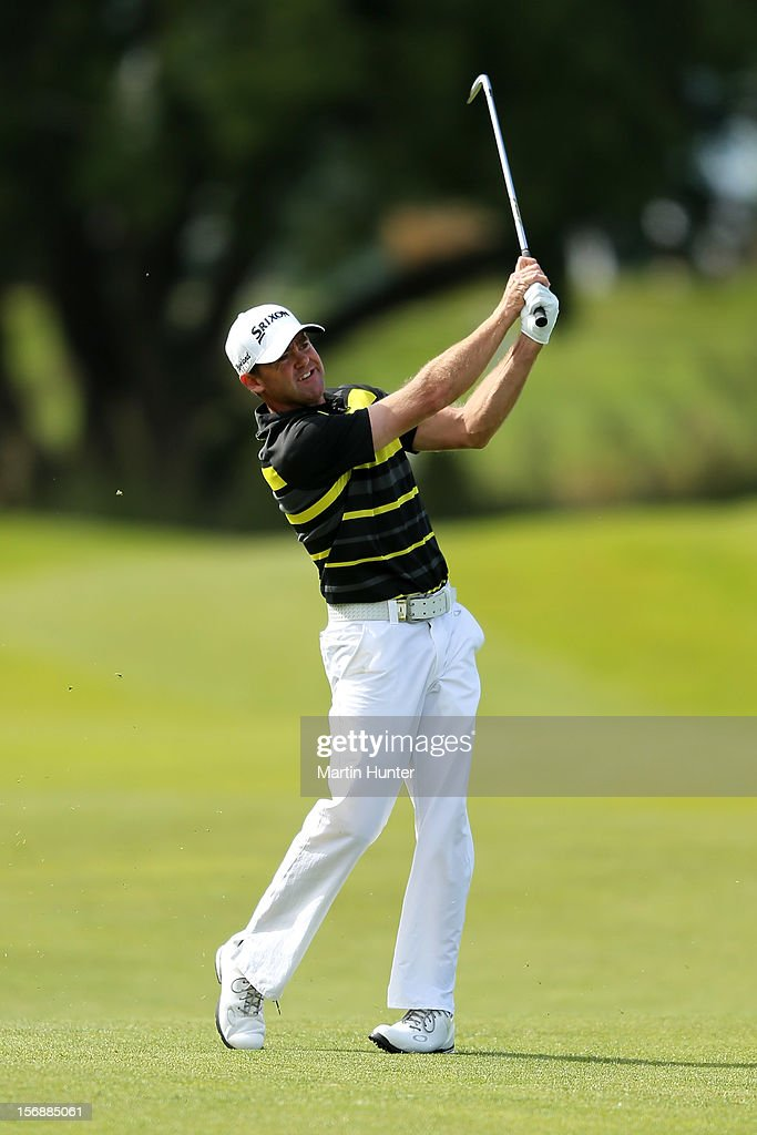 Mark Brown of New Zealand plays a shot during day three of the New Zealand Open Championship at Clearwater Golf Course on November 24, 2012 in Christchurch, New Zealand.