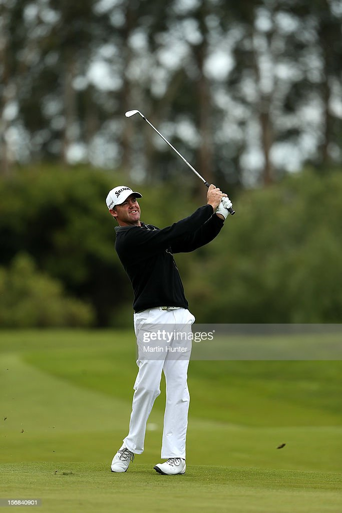 Mark Brown of New Zealand plays a shot during day two of the New Zealand Open Championship at Clearwater Golf Course on November 23, 2012 in Christchurch, New Zealand.