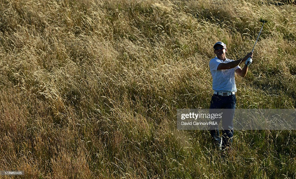 Mark Brown of New Zealand plays his third shot on the 17th hole during the first round of the 142nd Open Championship at Muirfield on July 18, 2013 in Gullane, Scotland.