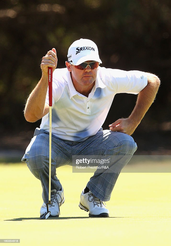 Mark Brown of New Zealand prepares to play a shot on the 17th hole during day two of the British Open International Final Qualifying Australasia at Kingston Heath Golf Club on January 30, 2013 in Melbourne, Australia.