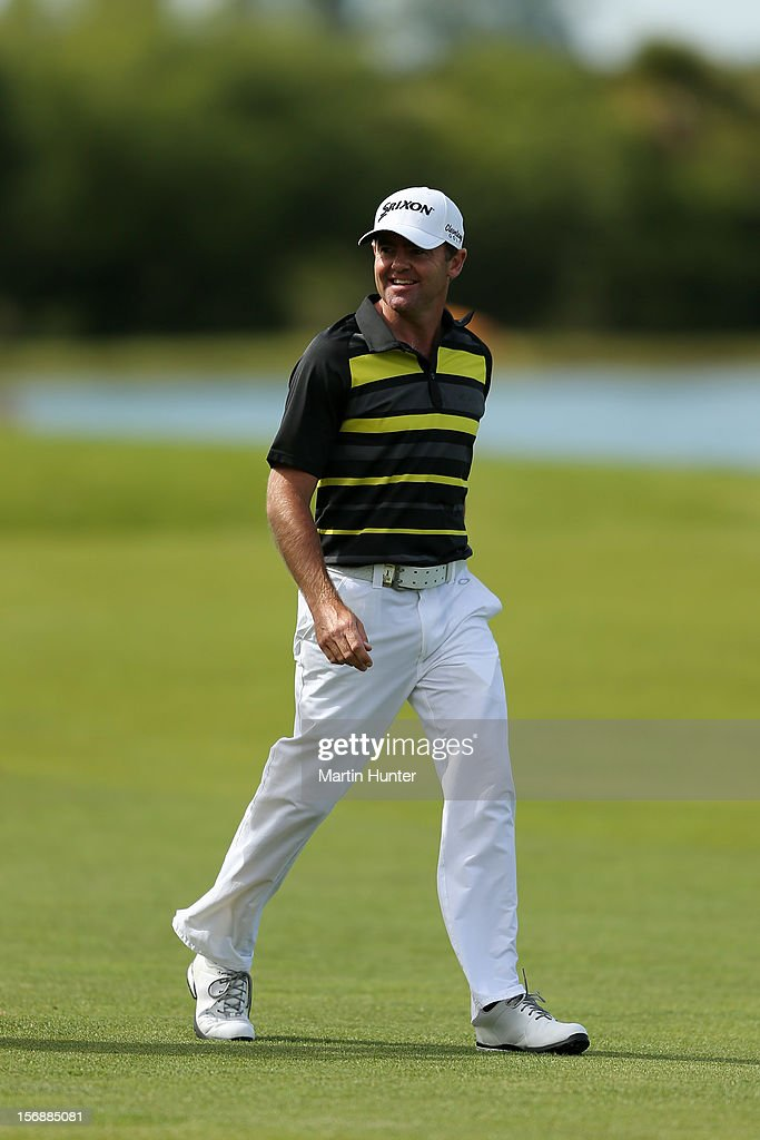 Mark Brown of New Zealand walks down the 18th fairway during day three of the New Zealand Open Championship at Clearwater Golf Course on November 24, 2012 in Christchurch, New Zealand.