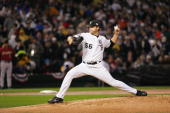 Mark Buehrle of the Chicago White Sox ACTIONVERBS during Game 2 of the 2005 World Series against the Houston Astros at US Cellular Field on October...