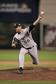 Mark Buehrle of the Chicago White Sox enters the game as a relief pitcher in the fourteenth inning during Game 3 of the 2005 World Series against the...