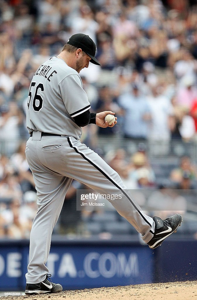 <a gi-track='captionPersonalityLinkClicked' href=/galleries/search?phrase=Mark+Buehrle&family=editorial&specificpeople=204644 ng-click='$event.stopPropagation()'>Mark Buehrle</a> #56 of the Chicago White Sox kicks at the mound after surrendering a run against the New York Yankees on May 2, 2010 at Yankee Stadium in the Bronx borough of New York City. The Yankees defeated the White Sox 12-3.