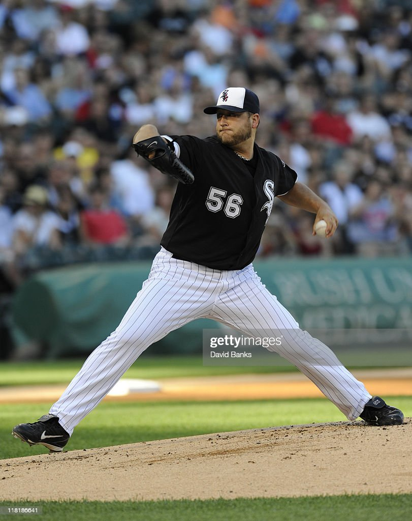 <a gi-track='captionPersonalityLinkClicked' href=/galleries/search?phrase=Mark+Buehrle&family=editorial&specificpeople=204644 ng-click='$event.stopPropagation()'>Mark Buehrle</a> #56 of the Chicago White Sox pitches against the Kansas City Royals on July 4, 2011 at U.S. Cellular Field in Chicago, Illinois.