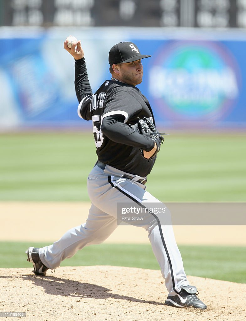 <a gi-track='captionPersonalityLinkClicked' href=/galleries/search?phrase=Mark+Buehrle&family=editorial&specificpeople=204644 ng-click='$event.stopPropagation()'>Mark Buehrle</a> #56 of the Chicago White Sox pitches against the Oakland Athletics at Oakland-Alameda County Coliseum on May 15, 2011 in Oakland, California.