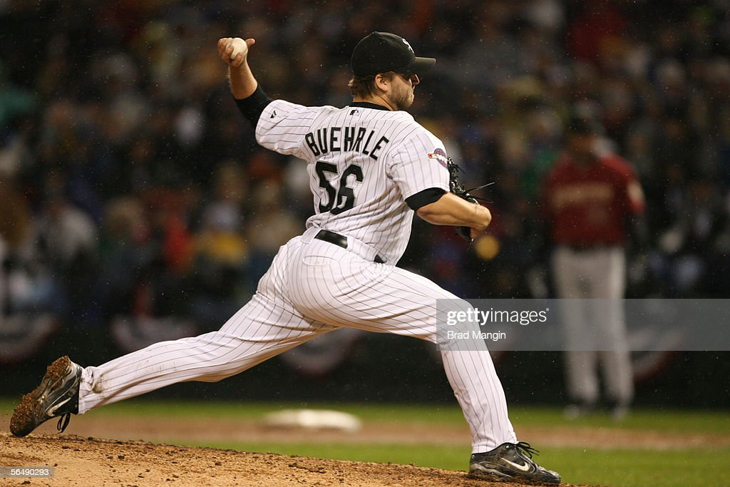 Mark Buehrle of the Chicago White Sox pitches during Game Two of the Major League Baseball World Series against the Houston Astros at U.S. Cellular Field on October 23, 2005 in Chicago, Illinois.