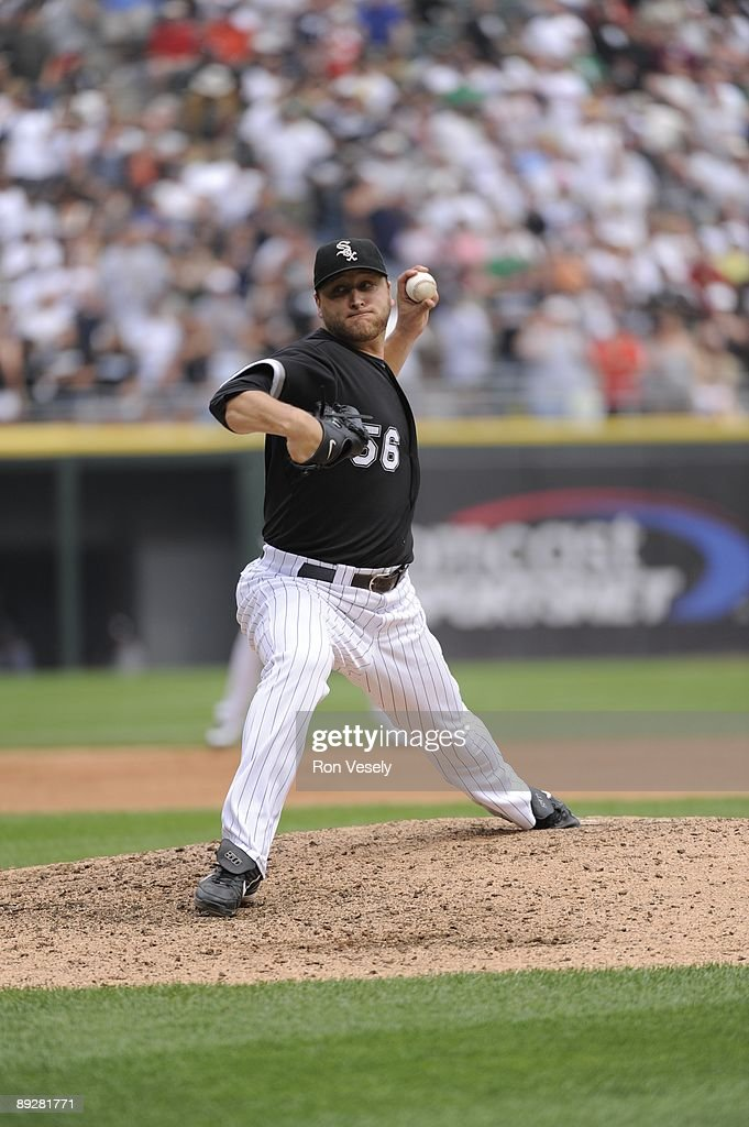 Mark Buehrle #56 of the Chicago White Sox pitches in the eighth inning against the Tampa Bay Rays on July 23, 2009 at U.S. Cellular Field in Chicago, Illinois. Buehrle pitched the 18th perfect game in major league baseball history as the White Sox defeated the Rays 5-0.