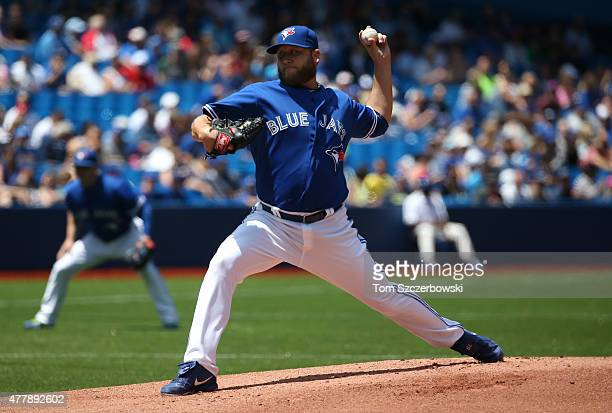 Mark Buehrle of the Toronto Blue Jays delivers a pitch in the first inning during MLB game action against the Baltimore Orioles on June 20 2015 at...