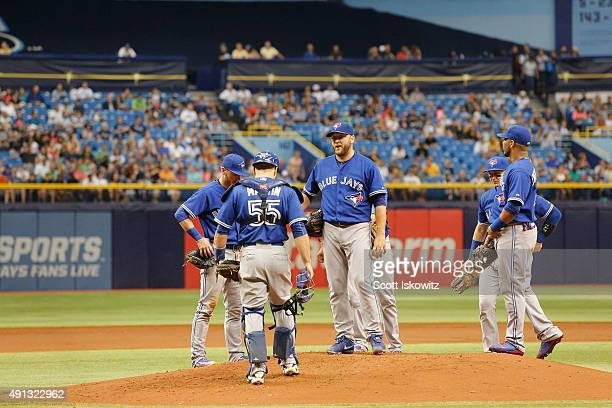 Mark Buehrle of the Toronto Blue Jays gets pulled during the first inning of game between the Tampa Bay Rays and the Toronto Blue Jays at Tropicana...