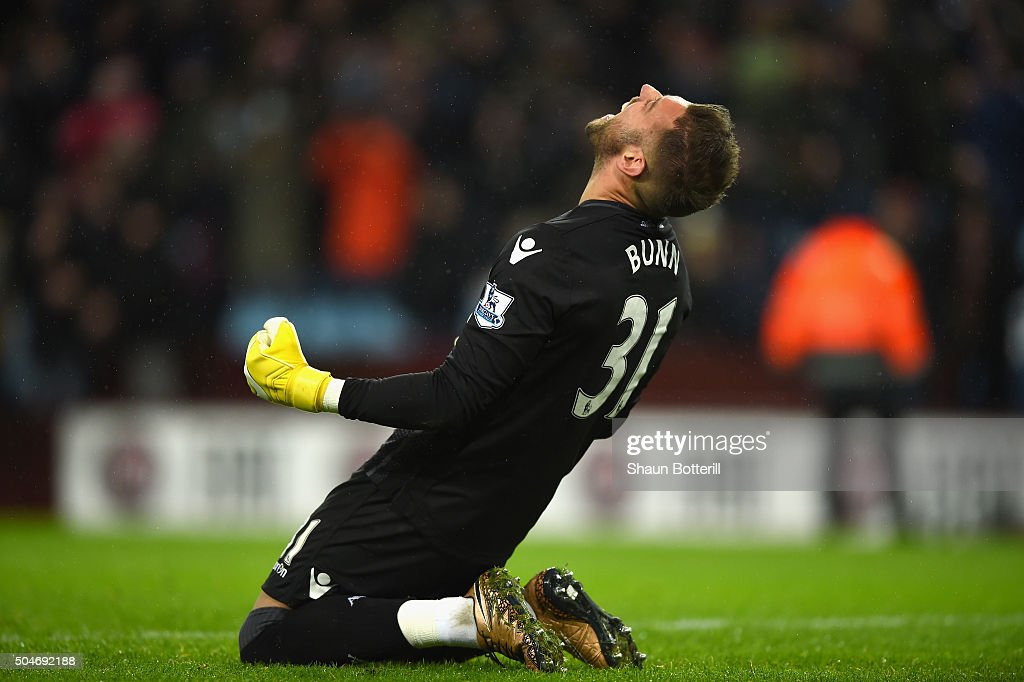 Mark Bunn of Aston Villa celebrates victory after during the Barclays Premier League match between Aston Villa and Crystal Palace at Villa Park on January 12, 2016 in Birmingham, England.