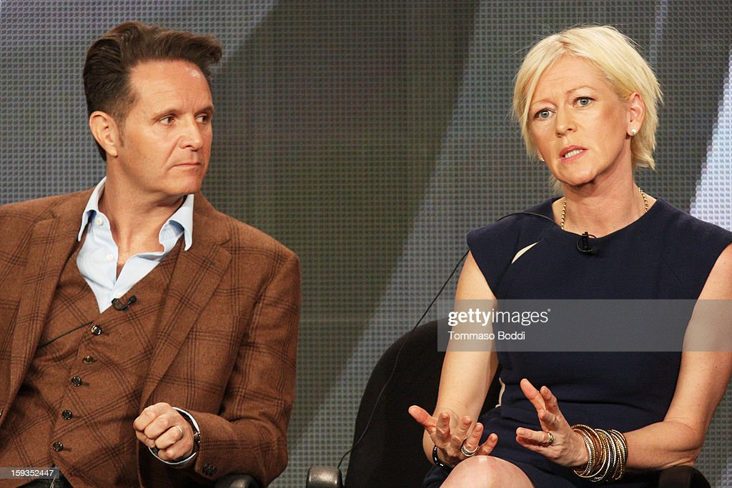 EP Mark Burnett (L) and Editor-in-Chief Cosmopolitan Magazine Joanna Coles of the TV show 'The Job' attend the 2013 TCA Winter Press Tour CW/CBS panel at The Langham Huntington Hotel and Spa on January 12, 2013 in Pasadena, California.