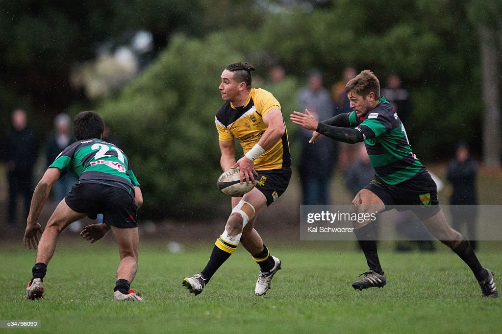Mark Burton of New Brighton looks to pass the ball during the match between New Brighton RFC and Linwood RC on May 28, 2016 in Christchurch, New Zealand.