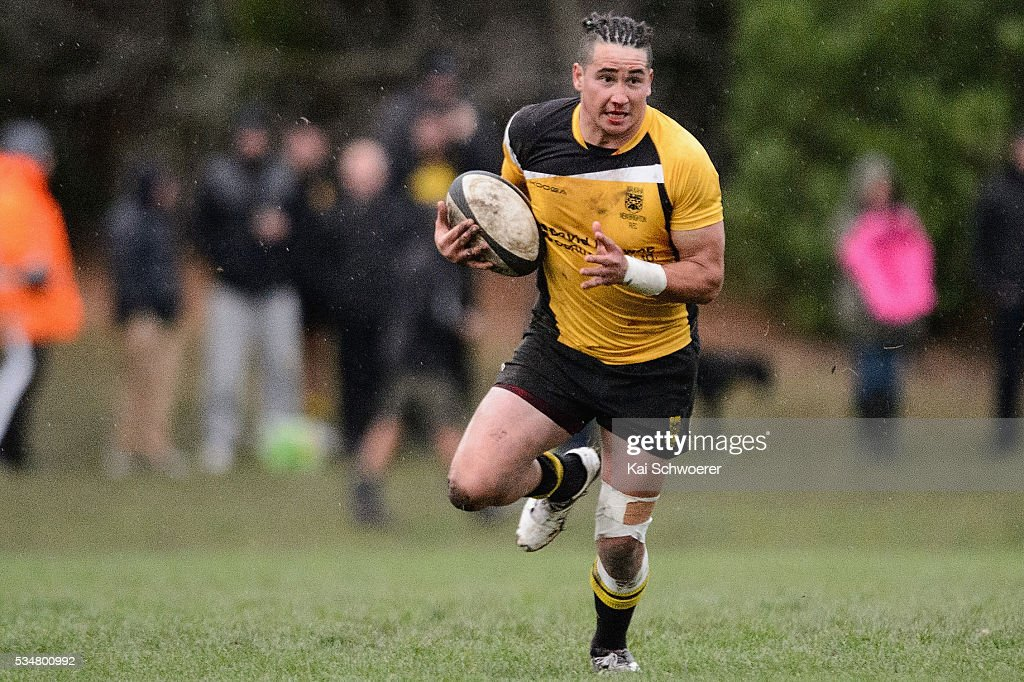 Mark Burton of New Brighton runs with the ball during the match between New Brighton RFC and Linwood RC on May 28, 2016 in Christchurch, New Zealand.