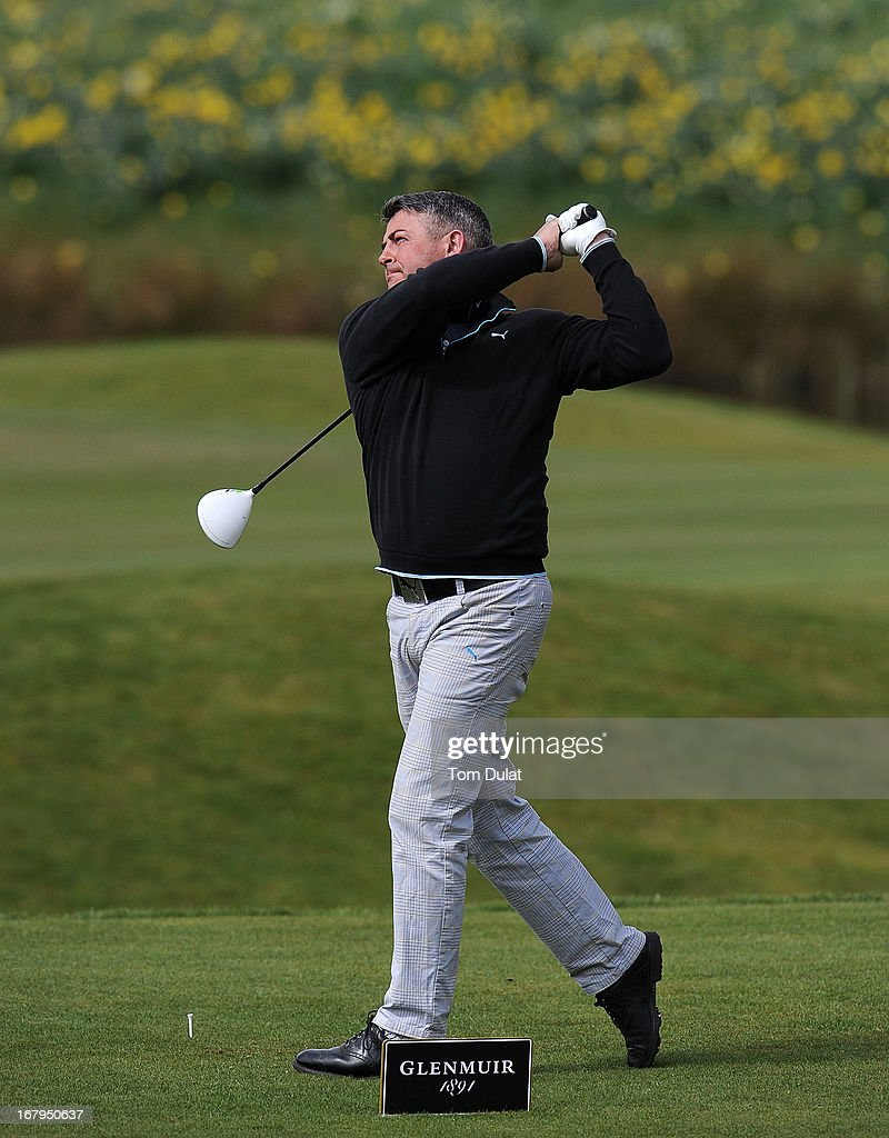 Mark Butler of Mark Butler Golf Academy tees off on the 2nd hole during the Glenmuir PGA Professional Championship Midland Region Qualifier at Little Aston Golf Club on May 03, 2013 in Sutton Coldfield, England.
