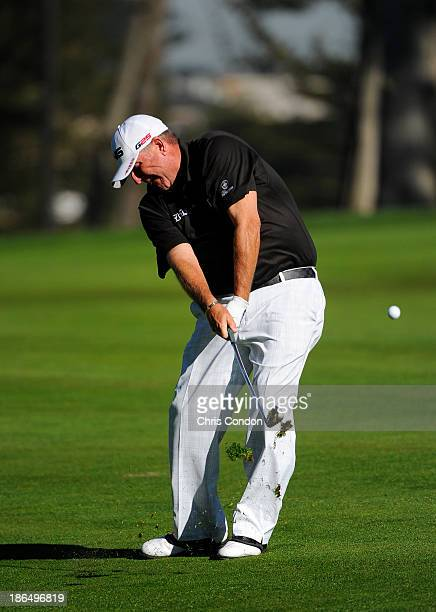 Mark Calcavecchia hits his second shot on the first hole during the first round of the Charles Schwab Cup Championship at TPC Harding Park on October...