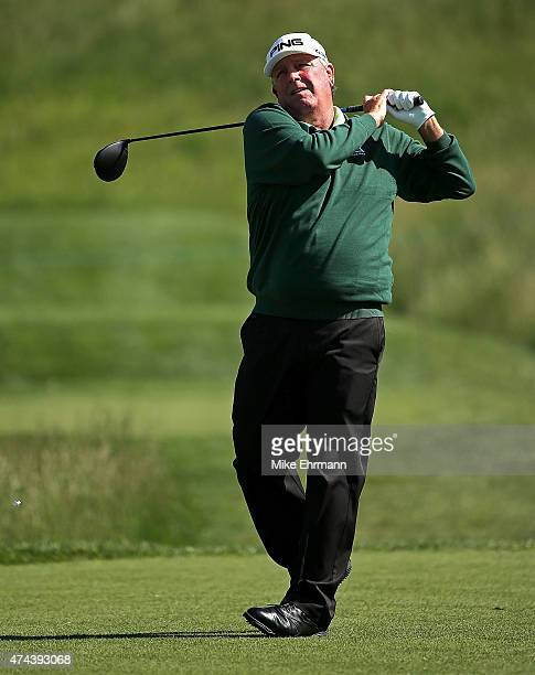 Mark Calcavecchia hits his tee shot on the eighth hole during the second round of the Senior PGA Championship Presented By KitchenAid at the Pete Dye...