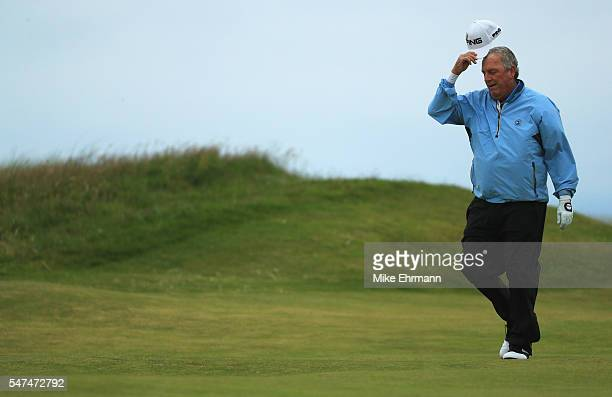 Mark Calcavecchia of the United States walks on the 3rd hole during the second round on day two of the 145th Open Championship at Royal Troon on July...