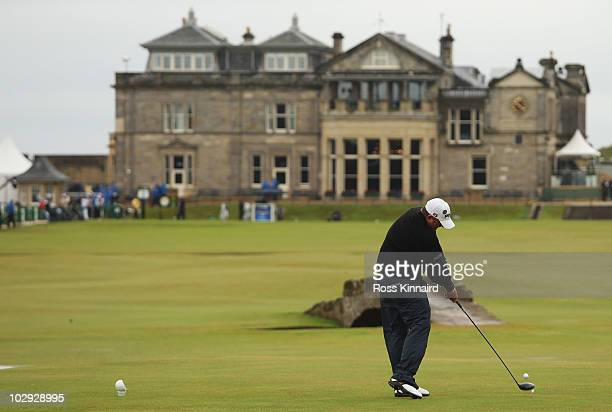 Mark Calcavecchia of the USA hits his tee shot on the 18th hole during the second round of the 139th Open Championship on the Old Course St Andrews...