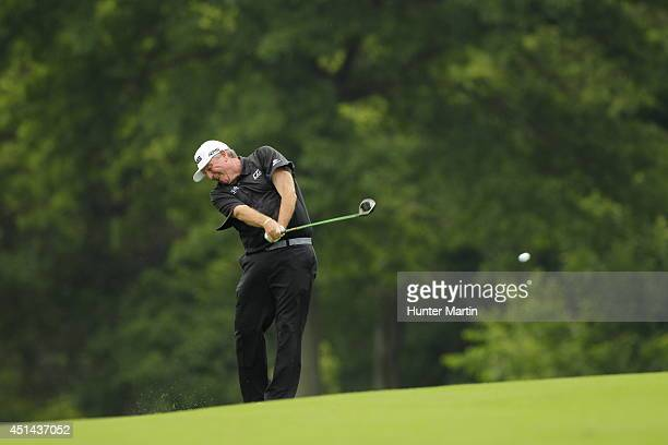 Mark Calcavecchia on the second hole during the first round of the Constellation Senior Players Championship at Fox Chapel Golf Club on June 26 2014...