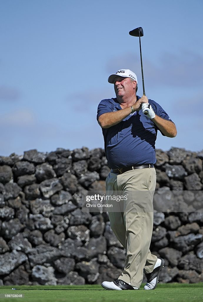 Mark Calcavecchia plays from the ninth tee during the first round of the Mitsubishi Electric Championship at Hualalai Golf Club on January 18, 2013 in Ka'upulehu-Kona, Hawaii.