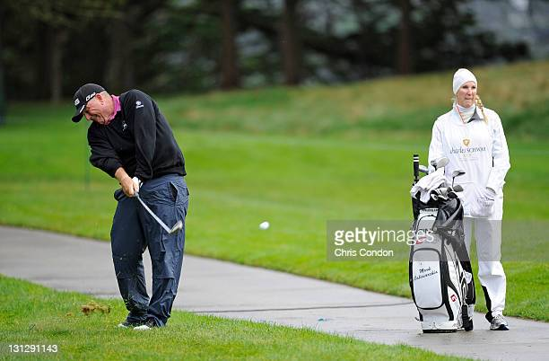 Mark Calcavecchia plays from the rough on the 16th hole during the first round of the Charles Schwab Cup Championship at TPC Harding Park on November...