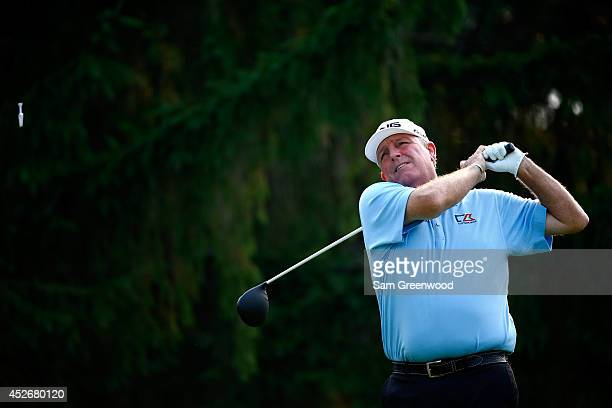 Mark Calcavecchia tees off on the eighth hole during the second round of the RBC Canadian Open at the Royal Montreal Golf Club on July 25 2014 in...